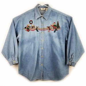 Christmas Denim Shirt Top Size 22/24 Blue Jean